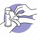 close, faucet, hygiene, paper, tap, tissue, turn off icon