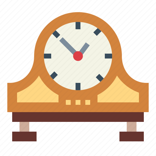 clock, minute, table, time, wood icon