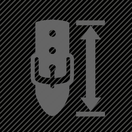 arrow, dimension, fastener, length, measurement, piece, size icon