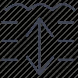 activities, arrows, depth, diving, sea, water icon