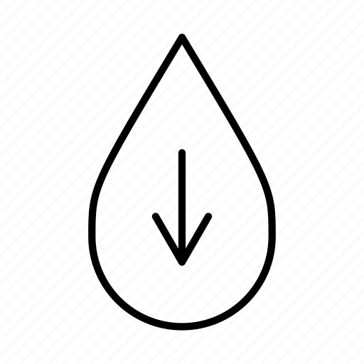 down, down arrow, download, less water, pour, water droplet icon
