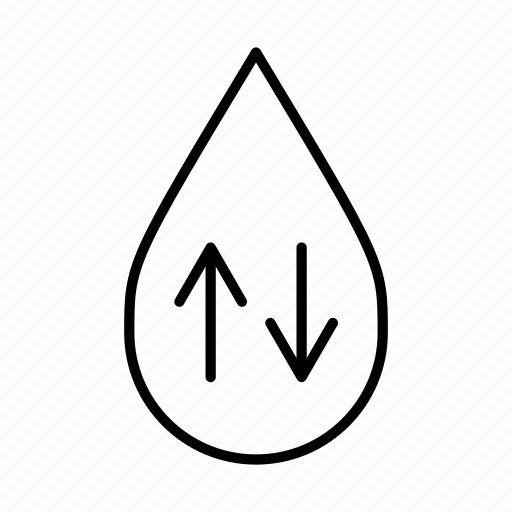 arrows, circulate, down, reuse, up, water droplet, water levels icon