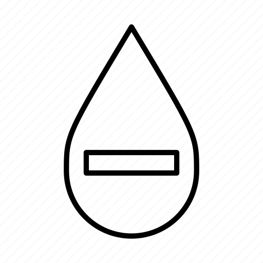 less, less water, minus, no water, subtract, water droplet icon