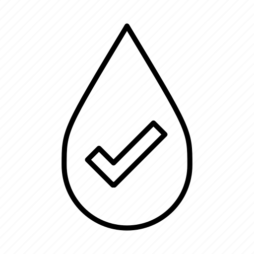 check, check mark, healthy, ok, pure water, water droplet icon