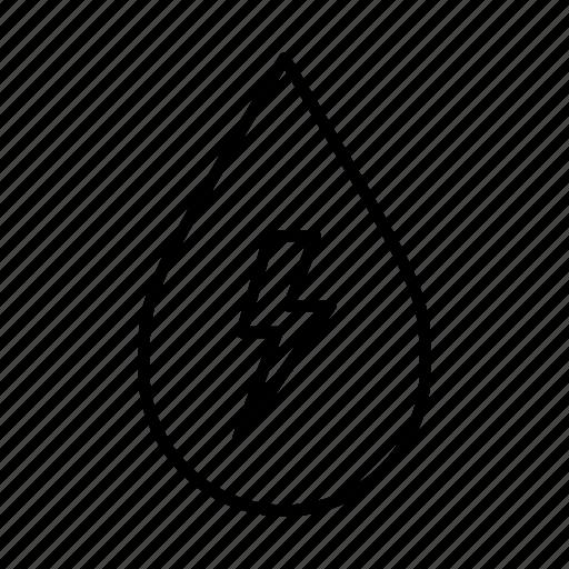 alternative energy, hydrate, hydropowered, lightning, lightning bolt, water droplet icon
