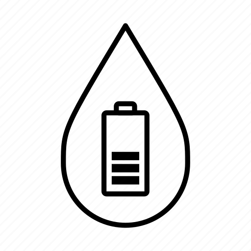 alternative energy, battery, hydropower, power, water droplet, water-powered icon