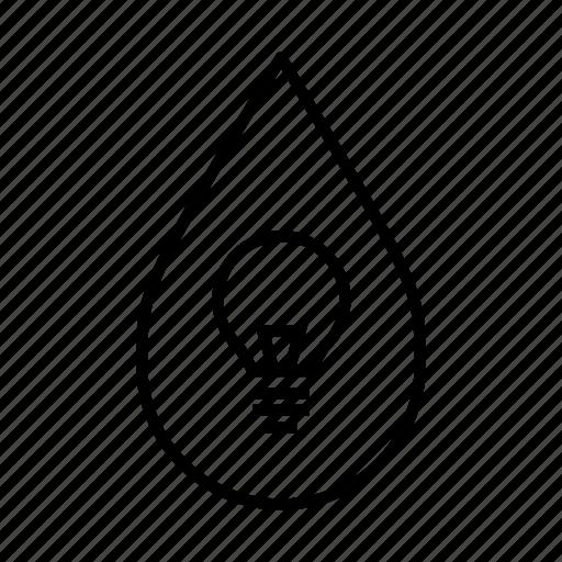 alternative energy, awareness, environment, idea, light, lightbulb, water droplet icon