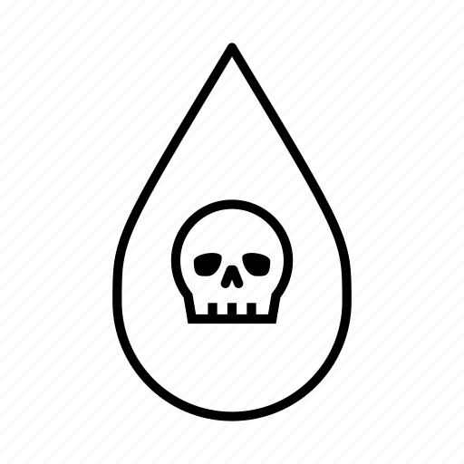 danger, no swimming, poison, skull, toxic, unhealthy, water droplet icon