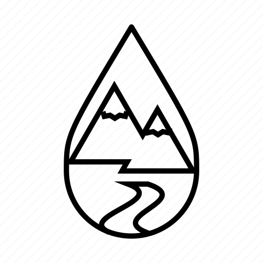 hiking, mountains, nature, river, trail, water droplet icon
