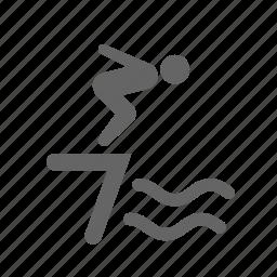 dive, jump, man, pool, sea, swimming, water icon