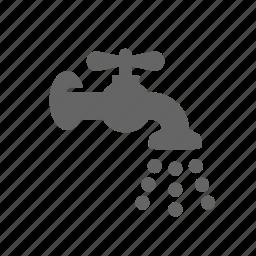 crane, drop, liquid, mixer, open, tap, water icon