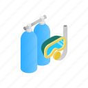 aqualung, diving, isometric, mask, scuba, snorkel, tube icon