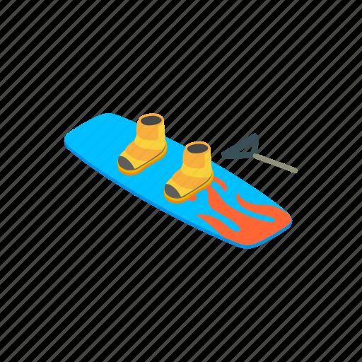 activity, board, fun, isometric, jump, strength, water icon