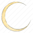 crescent, lunar, moon, night, sky, solar, space, system icon