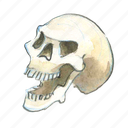 bone, dead, death, evil, face, halloween, head, horror, laugh, scary, skull, smile, spooky icon