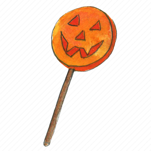 face, halloween, lollypop, pumpkin, smile, sweet, treat, trick-or-treat icon