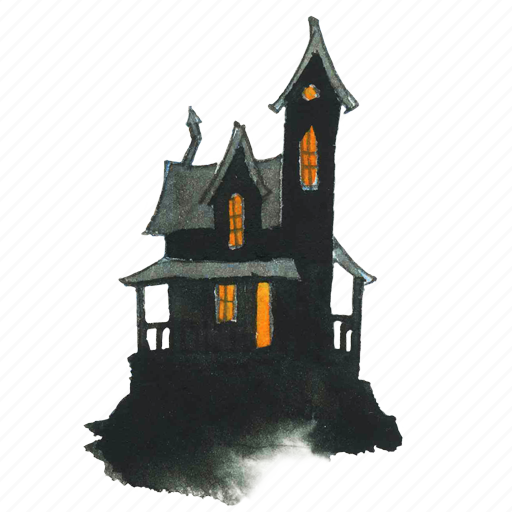 Halloween Spooky House.Watercolor Halloween By Lanan Illustration