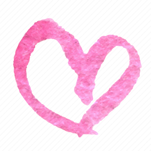 doodle, hand drawn, heart, love, sketch, valentine, watercolor icon