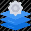 layered, development, software, dev, layers, cog, gear icon