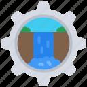 waterfall, development, software, dev, cog, gear icon