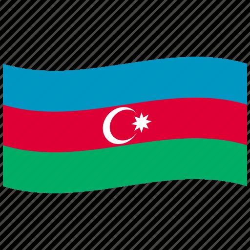 az, azerbaijan, blue, flag, green, republic, waving flag icon
