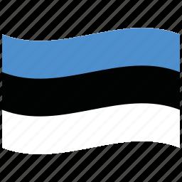 blue, ee, estonia, republic, waving flag, white icon