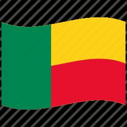benin, bj, green, red, waving flag icon