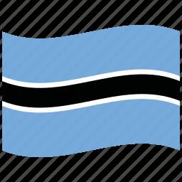 botswana, bw, waving flag icon