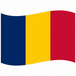 blue, chad, flag, red, td, waving flag, yellow icon