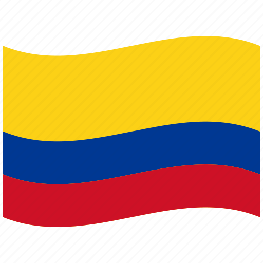 co, colombia, flag, red, republic, waving flag, yellow icon