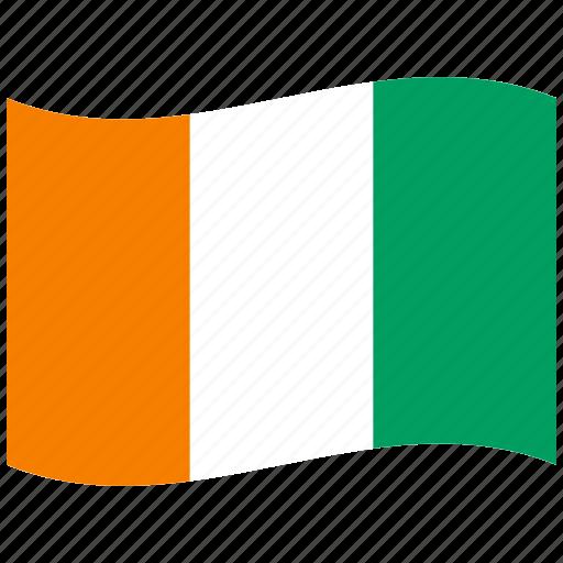 ci, côte d'ivoire, flag, green, orange, republic, waving flag icon
