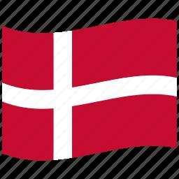 cross, denmark, dk, flag, kingdom, waving flag, white icon