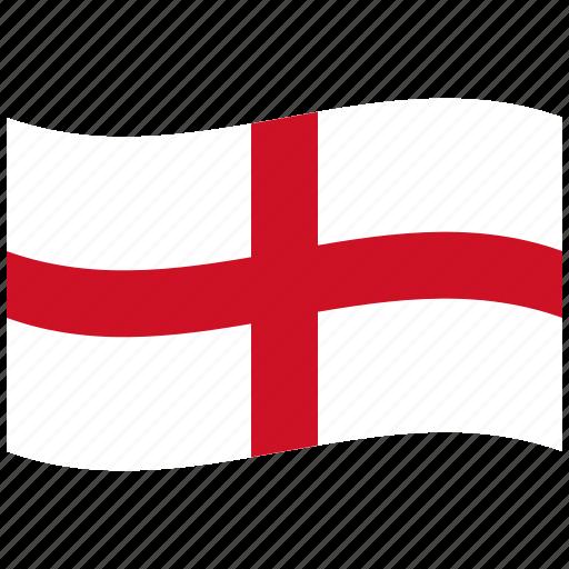 cross, england, english, red, waving flag, white icon
