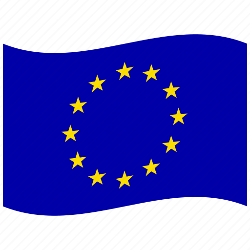 eu, euro, europe, european flag, european union, stars, waving flag icon