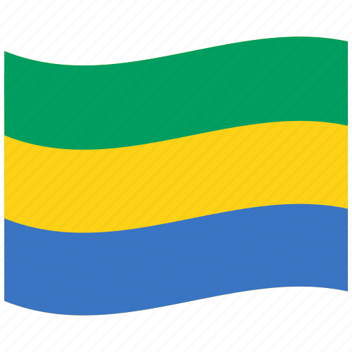 flag, ga, gabon, green, republic, waving flag, yellow icon