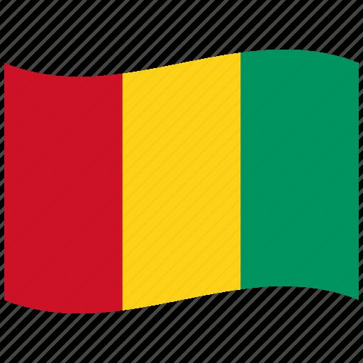flag, gn, green, guinea, republic, waving flag, yellow icon