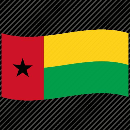 bissau, guinea, guinea-bissau, gw, republic, star, waving flag icon