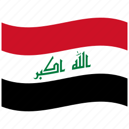 combination, horizontal, iq, iraq, stripes, three, waving flag icon