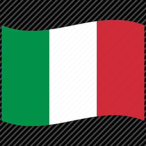 Italian Flag: Green, It, Italian Flag, Italy, Red, Rome, Waving Flag Icon