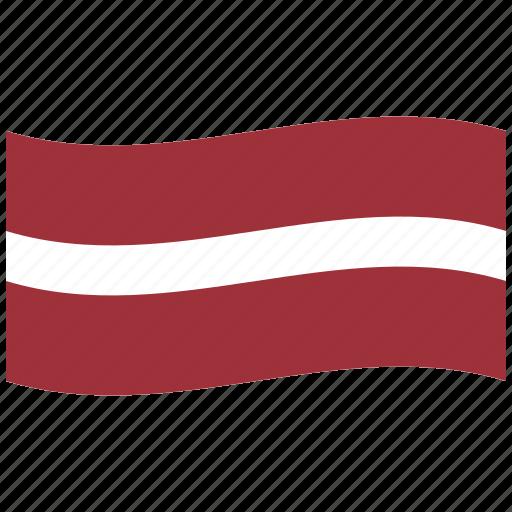 flag, latvia, lv, republic, waving flag, white icon