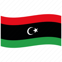 green, libya, libyan flag, ly, red, republic, waving flag icon