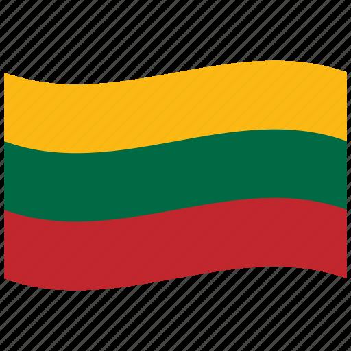 fed, green, lithuania, lt, republic, waving flag, yellow icon