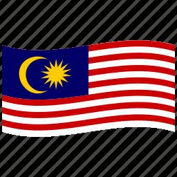 gemilang, jalur, malaysia, malaysian flag, my, waving flag icon
