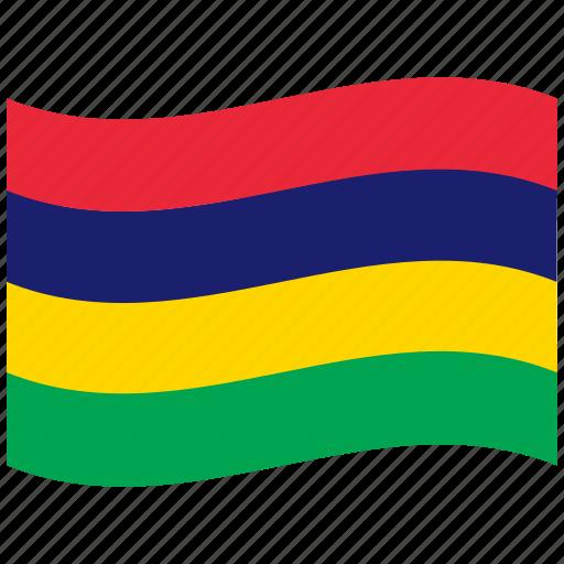 flags, four, horizontal, mauritius, mu, stripes, waving flag icon
