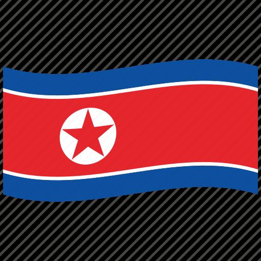circled, communism, korean flag, kp, north korea, stars, waving flag icon