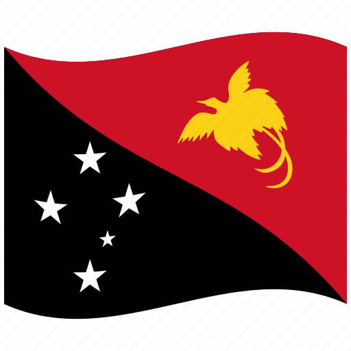 africa, guinea, new, papua, pg, stars, waving flag icon