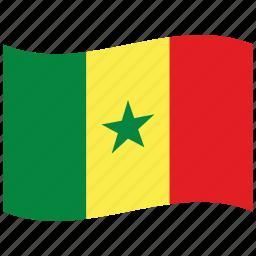africa, flag, green, senegal, sn, star, waving flag icon
