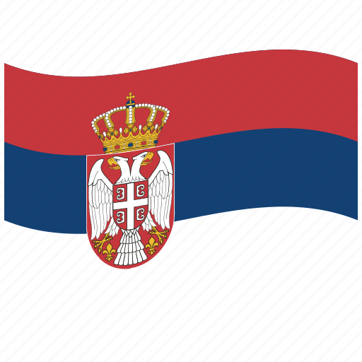 red, rs, serbia, serbian flag, waving flag, white icon