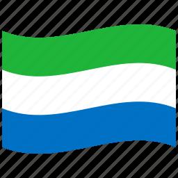 flag, leone, republic, sierra, sl, waving flag icon