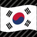 korea, south, corea, korean, kr, white, waving flag